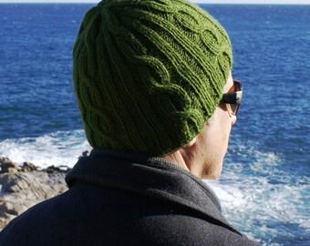 Hat for men, ALPACA Wool, men's hat, moss green, handmade, winter, hand knit, accessories men, Ready to ship