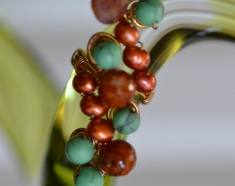 Freshwater Pearls, Agate, and Turquoise Ring on Gold Plated Copper Wire