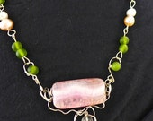 "PINK FUSED GLASS Necklace-Stunning-Wire-Wrapped- Handmade for Divine Lady- Lustrous Pearls-Radiant Quartz Crystals-24"" Length"