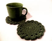 Crochet Coasters or Doilies set of 2 Avocado green large