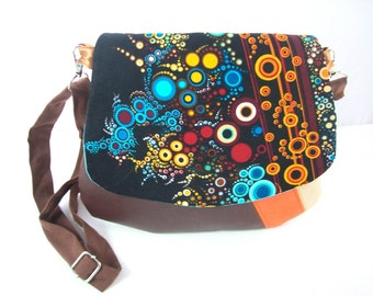bag,small messenger brown  and orange faux leather bubbles flap ,crossbody purse