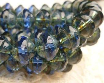 Sapphire Central Cut Saucer Czech Glass Beads, Full Strand