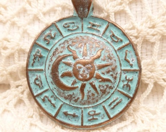 Rustic, Vintage Look, Patina Zodiac Calender Charms, Pendants - Mykonos Casting Beads (1) - M10