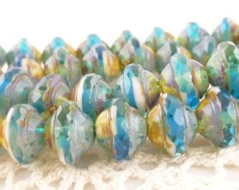 Capri Blue Central Cut Saucer Czech Glass Beads, 12 beads or 1 strand - 1070/SAT