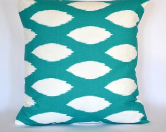 "Ikat Pillow Throw Pillow Cushion Cover decorative pillow 18""x18""  Turquoise Pillow Cover"