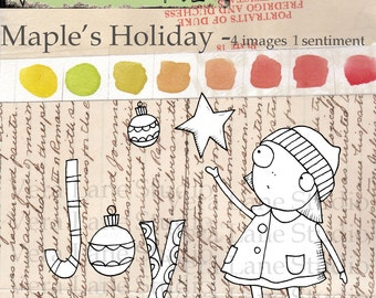 SALE SALE   SALE!  Reduced this week Maple; whimsical gal digi stamp for the holidays
