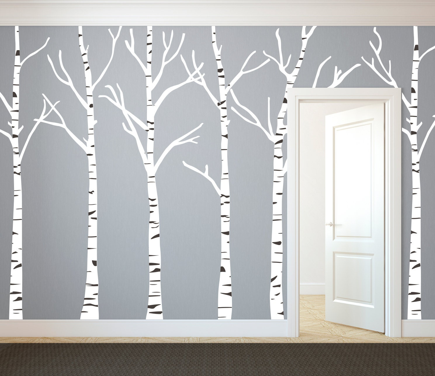 Birch Trees Silhouettes Forest Wall Decal Custom Vinyl Art