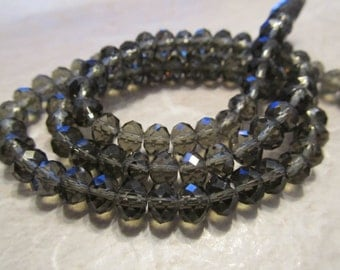 "8"" Gray Faceted Rondelle Crystals, Beads, 6x4mm"