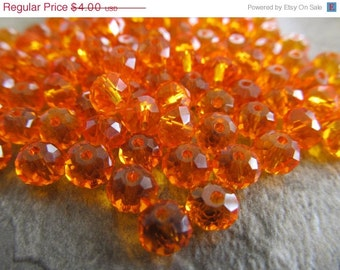 "8"" Fiery Orange Faceted Rondelle Crystals, Beads, 8x6mm"