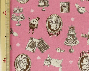 Emi Kondo Japanese Fabric / Classical Alice in Wonderland Fabric Pink  - 110cm x 50cm