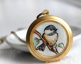 chickadee locket, brass locket