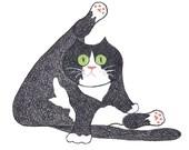 Cat Art Print - Tuxedo Cat / Black and White Cat Art Print