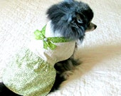 Small Dog Dress Foliage Green and White Clothes Clothing, Made to Order for Toy Teacup Size, Yorkie Pomeranian Chihuahua