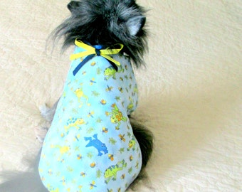 Flannel Small Dog's Coat Baby Blue, Cobalt, Pale Green, Peach & White Frogs - Cuistomize for Your Pint-Sized Pooch