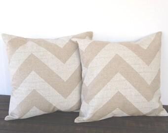 "Pillow covers Pair 16"" x 16"" light beige oatmeal cushion cover decorative throw pillows modern pillow"