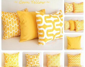 "Yellow pillow cover 22"" x 22"" One cushion cover corn yellow white throw pillow"
