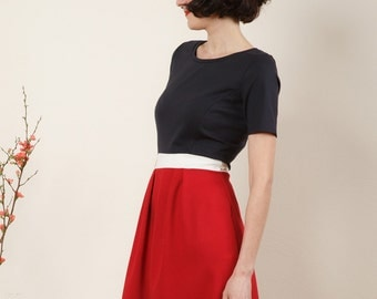 "Dress ""Elisa"", in red, dark blue and off-white"