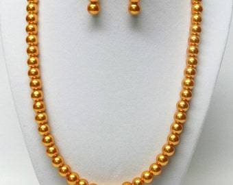 8mm Orange Glass Pearl Necklace and Earrings
