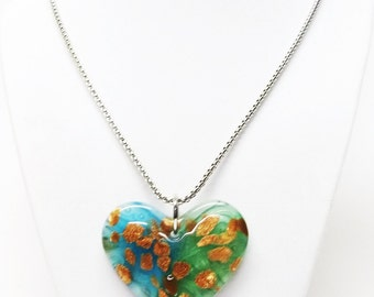 Green Lamp Work Glass Heart w/Gold Sparkle Specks Pendant Necklace