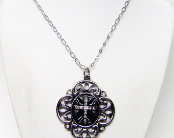 Silver Plated Shield w/Rhinestone Cross Pendant Necklace