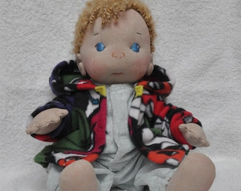 "SALE! Fretta's Peanut Baby Boy 16"" / 46 cm. Curly Blonde Hair, BlueEyes. Natural Soft Sculpted Jointed Baby, Child Safe Cloth Doll"