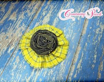 Yellow, Black Fabric Flower Hair Clip, Hair Accessories, Hair Bow, Bright Yellow, Charcoal, Baby Girl Headband, Newborn Hair Bow, Brooch Pin