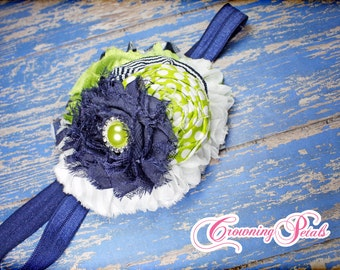Navy Blue, Lime Green Headband, Chartreuse, White, Fabric Flower Hair Piece, Baby Girl Hair Bow, Infant, Hair Accessory, Hair Clip, Toddler