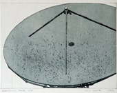 Etching Print - Industrial Etching - Satellite Dish Etching - 'Goonhilly Four' by William White - FREE SHIPPING
