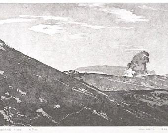Etching Print - Irish Landscape - Original Hand Pulled Print - 'Mourne Fire in Ireland' by William White - FREE SHIPPING
