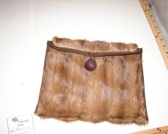 BAG-10C Genuine BROWN MINK Fur Ipad Kindle EReader Sleeve Cover Cozy