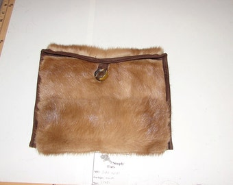BAG-10F Genuine BROWN MINK Fur Ipad Kindle EReader Sleeve Cover Cozy