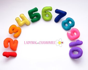 FELT MAGNET NUMBERS - from 1 to 10 , Magnet Numbers , Colorful Numbers