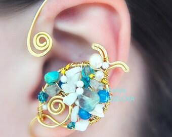 SALE No Piercing Left Ear Cuff Marine Treasure Gold Fish/fake faux piercing/cartilage conch ear jacket/ohrklemme ohrclip manschette/elf ears