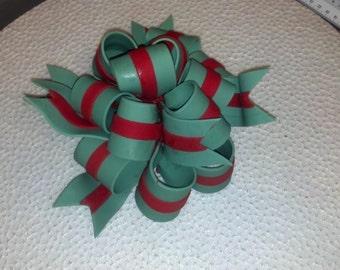 Edible gum paste 2 color ribbon bow cake topper