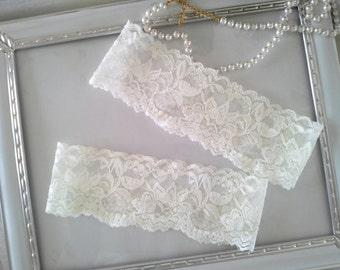 SALE Plain Wedding Garter set, Ivory Bridal Garter, Lace garter, Ivory Garter Style # SG2034