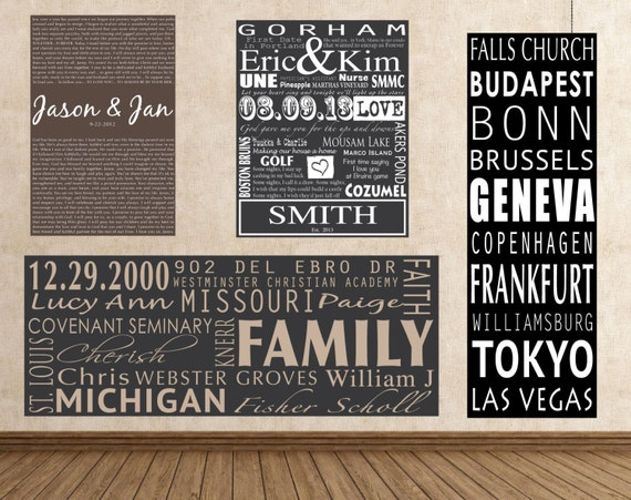 Your words on Canvas, Lyrics on Canvas, Custom Quotes, Personalized Word Art, Word Art