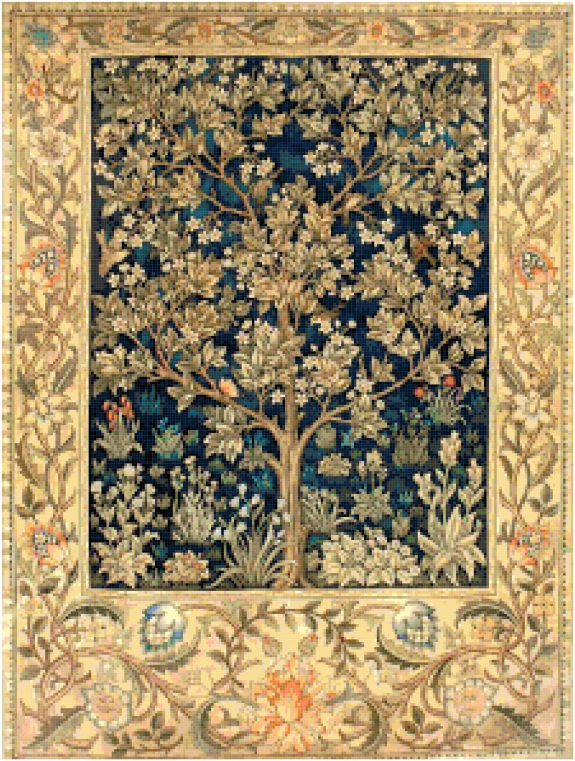 William Morris Garden Of Delight Tapestry Design Counted