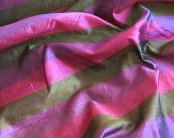 "Silk Fabric Purple Gold Pink Stripe Silk Dupioni Taffeta Fabric Yardage - 54"" Wide - By The Yard"