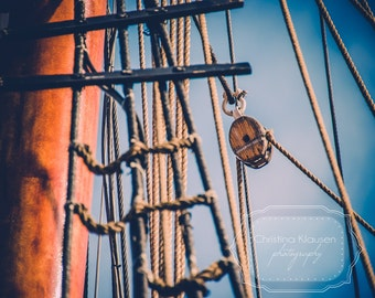 Nautical Photography. Boat Rigging. Boat Photo. Rope. Blue. Rigging. Nautical Home Decor. Schooner. Boy's Room Decor. Fine Art Photography