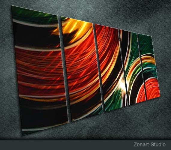 "Original Metal Wall Art Modern Painting Sculpture Indoor Outdoor Decor "" Days have 2 "" by Ning"