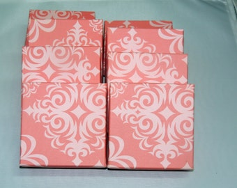 100 Pack 3.5x3.5 Matte Light Pink Damask Print Cotton Filled Jewelry Presentation Boxes, Pastel Pink Color Gift Boxes,Vibrant Pink Boxes,