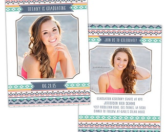 Senior Graduation Announcement Card Template for Photographers - Photoshop Templates for Photographers - Photo Card Template - GD120
