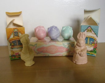 Vintage Easter Ornaments - Avon Cottage Friends Soaps Bunny and Goose in Boxes, Easter Egg Soaps
