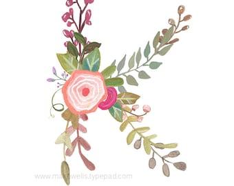 K - Floral Letter Print
