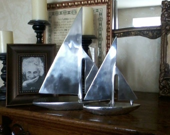 Two Stainless Steel Sailboats