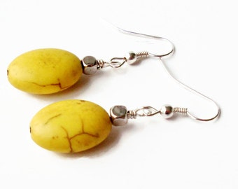 Yellow Earrings, Yellow Turquoise Earrings, Yellow Drop Earrings, Yellow Stone Earrings, Yellow Dangle Earrings, Yellow and Silver Earrings