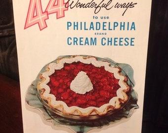 Vintage 1950's 44 Wonderful Ways to Use Philadelphia Cream Cheese Cookbook Booklet
