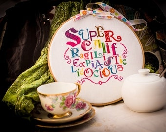Mary Poppins Cross Stitch - Supercalifragilisticexpialidocious - Confectionary Lolly Coloured - Digital PDF Pattern