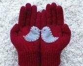 Bird Gloves, Love Birds, Burgundy Gloves, Grey Felt Birds, Valentine Gift,