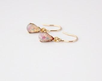 Teardrop earrings - fire opal
